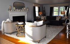 Living room in grays, golds and creams