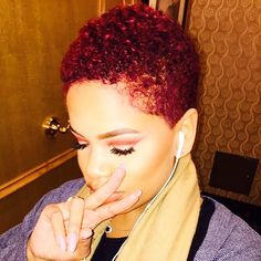 Short Red Hairstyles For Black Women Rock The Fro Pinterest