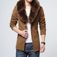 Manteau col fourrure homme luxe