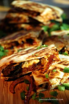 Western Quesadilla with steak, caramelized onions, cheese and barbecue sauce.