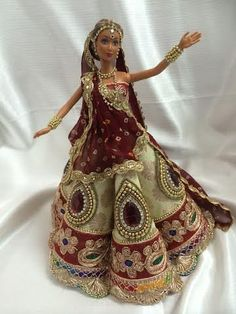 Items similar to Indian Bridal Doll on Etsy Diy Fashion, Fashion Dolls, Fashion Outfits, Barbie Dress, Barbie Clothes, Pretty Dolls, Beautiful Dolls, Masquerade Outfit, Barbie Bridal