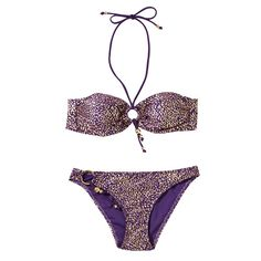 Charlotte Metal Texture Bright Gold Purple Background Printing Three Piece Swimsuit