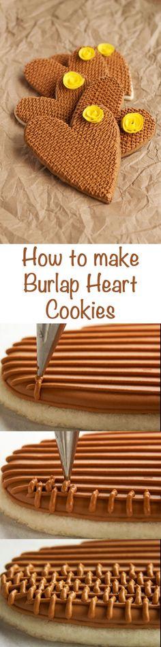 How to make Simple Burlap Rose Cookies via www.thebearfootbaker.com