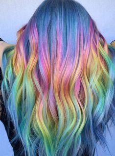 Magical rainbow hair 🌈 by Exotic Hair Color, Vivid Hair Color, Hair Dye Colors, Cool Hair Color, Wedding Hair Colors, Retro Wedding Hair, Shot Hair Styles, Long Hair Styles, Unicorn Hair Color