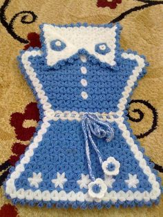 Crochet Girls Dress Pattern, Crochet Art, Pot Holders, Elsa, Knitting, Crafts, Decorated Flip Flops, Totes, Amigurumi