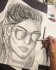 Very fast sketch. Was using coal pencil 😎#glasses#coalpencil#sketch#drawing