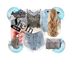 """""""Keep Calm SheIn Ripped Denim Short Shine Out"""" by deluxephotos ❤ liked on Polyvore"""