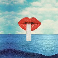 Amazing #collage by @marianopeccinetti. Get it as a large print from the link on my profile! #collageart #lipstick #sea #drinks