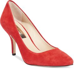 $69, Red Suede Pumps: INC International Concepts Zitah Pumps. Sold by Macy's. Click for more info: https://lookastic.com/women/shop_items/158248/redirect