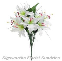 2 x #cameo tiger lily bush bunch #ivory #cream - artificial silk wedding flower,  View more on the LINK: 	http://www.zeppy.io/product/gb/2/201320930486/