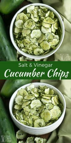 Easy to make baked salt and vinegar baked cucumber chips are a healthier low car.,Healthy, Many of these healthy H E A L T H Y . Easy to make baked salt and vinegar baked cucumber chips are a healthier low carb snack. And, they are low in ca. Healthy Low Carb Snacks, Keto Snacks, Low Carb Recipes, Vegan Recipes, Healthy Eating, Cooking Recipes, Healthy Chips, Carb Free Snacks, Carrot Recipes