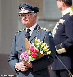 King Carl Gustaf received roses and tulips from well wishers. Princess Victoria Of Sweden, Princess Estelle, Crown Princess Victoria, Princess Sofia, Princess Birthday, Prince Carl Philip, Prince Daniel, Pink Wool Coat, Swedish Royalty