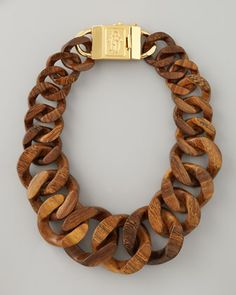 Tory Burch Graduated Wooden Chain Necklace