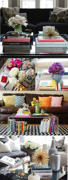 coffee table styling--really like pic 3 Home Living Room, Apartment Living, Living Room Decor, Apartment Ideas, Coffee Table Styling, Decorating Coffee Tables, Coffe Table, Inspiration Design, Home Decor Inspiration