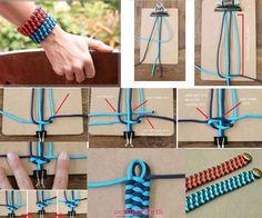 İplerden örme bileklik yapımı Braided Bracelets, Friendship Bracelets, Crochet Tote, Tote Pattern, Paracord, Bff, Washer Necklace, Creations, Braids