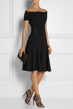 Versace|Off-the-shoulder leather-trimmed crepe dress|NET-A-PORTER.COM
