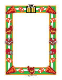 This sports theme border features footballs and helmets, jerseys and megaphones, as well as a big #1 foam finger. Free to download and print.
