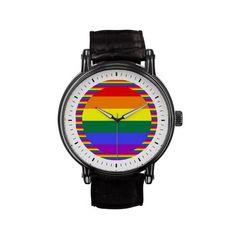 #Gay Pride Rainbow flag design wrist watch from #Ricaso