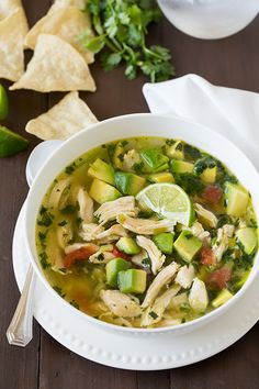 Chicken Avocado Lime Soup - like tortilla soup, but amped up with tons of avocado! Saute some sprouted-grain tortilla strips to stack on top, and use 1 1/2 avocados to serve 6.