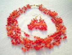 Red Cats Eye Set from juta ehted - my jewelry shop by DaWanda.com