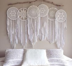 Massive giant 6 piece hoop pure white crochet dream catcher one of a kind creation, Whimsical Dreamcatcher Photo Backdrop, Wall Mural Hand Made – Wall Hanging Giant Dream Catcher, Dream Catcher Boho, Dream Catcher Bedroom, Lace Dream Catchers, Dream Catcher White, Dreamcatcher Crochet, White Dreamcatcher, Doorway Curtain, Crochet Doilies