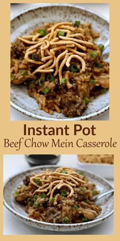 A classic Midwestern hot dish with ground beef, rice, creamy soup, and celery that is topped with Chow Mein noodles. Grandma used to make it in the oven and now you can make it in half the time in your Instant Pot. #instantpot