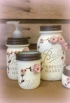 Shabby Chic Mason Jar Bathroom Set Mason Jar by AmericanaGloriana glass jar crafts Shabby Chic Mason Jar Bathroom Set, Mason Jar Desk Set, Mason Jar Office decor, Ivory Mason Jar Set, 5 Piece Vintage Mason Jar Vanity Set Shabby Chic Kitchen, Shabby Chic Homes, Shabby Chic Decor, Vintage Shabby Chic, Rustic Decor, Rustic Style, Shabby Chic Office, Rustic Chic, Vintage Decor