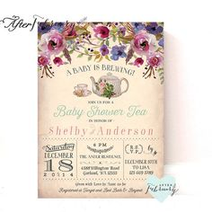 Baby Shower Tea Party Invitation - A Baby is Brewing - Vintage Peach Background - Tea Party Invite // Printable OR Printed No.899BABY