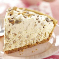 Frosty Toffee Bits Pie Recipe Desserts with cream cheese, soften, sugar, cream, frozen whip topping, thaw, English toffee bits, graham cracker crusts