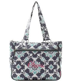 """Personalized 14"""" Quilted Handbag Purse Tote Bag"""