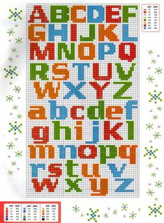 Lua aos quadradinhos: Maio 2011 Alphabet Charts, Alphabet And Numbers, Plastic Canvas Letters, Plastic Canvas Crafts, Cross Stitch Letters, Cross Stitch Baby, Abc Chart, Knitted Washcloths, Needlepoint Stitches