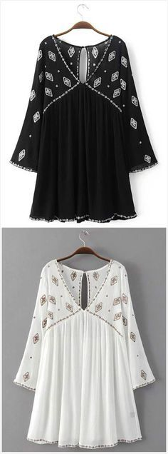 Women's Geometric Print Keyhole Back Deep V Dress.Check more from http://www.oasap.com .