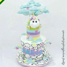 Unicornio Girl Cakes, Baby Cakes, Surprise Cake, Animal Cakes, Just Cakes, Fondant, Unique Cakes, Baby Shower Cakes, Themed Cakes