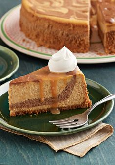 Spiced Chocolate-Swirled Pumpkin CheesecakeSwirled with melted chocolate and fragrant with pumpkin pie spice, this cheesecake is what you bring out when you want to knock their socks off!