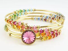 Rainbow Beaded Bracelet Memory Wire Wrap Bracelet and Swarovski Crystal Gold Bangle - Multicolor Rainbow Hue Multiple Loop Wrap Bracelet by OstaraMoonJewelry on Etsy Memory Wire Jewelry, Memory Wire Bracelets, Wire Wrapped Jewelry, Metal Jewelry, Diy Jewelry, Beaded Jewelry, Jewelry Bracelets, Handmade Jewelry, Jewelry Design