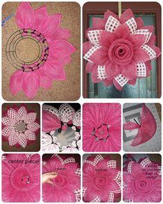 Deco Mesh Crafts Wreath Crafts Diy Wreath Flower Crafts Burlap Crafts Burlap Wreath Wreath Ideas Mesh Ribbon Wreaths Wreaths And Garlands Burlap Crafts, Wreath Crafts, Diy Wreath, Diy Crafts, Deco Mesh Wreath Tutorial, Burlap Flower Tutorial, Wreath Ideas, Tulle Wreath, Wreath Making