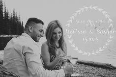Save the date! Melissa and Bashar's mountain engagement 2015 Morine lake Alberta Katerina Andrea photography