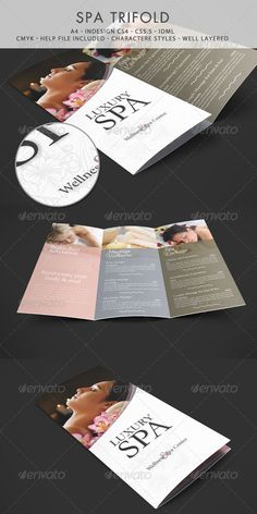 Buy Spa & Wellness Trifold Template by niklofr on GraphicRiver. This is a spa trifold template. This file is completly editable, you can find links for fonts or pictures. Spa Brochure, Design Brochure, Brochure Layout, Corporate Brochure, Brochure Template, Spa Design, Book Design, Gift Voucher Design, Magazine Ideas