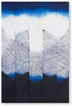 """水精綺羅星の如くに - """"Like a clean water star"""" Yoko Murayama (Tokyo) 155 × 250 cm Technique / storm squeezing Dye / indigo Price / 300K"""