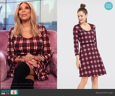 c19a1960a94a Wendy s black check dress on The Wendy Williams Show