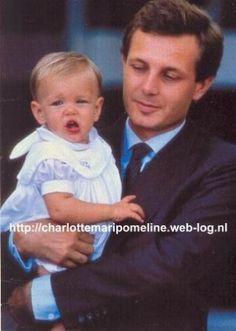 Handsome Stefano Casiraghi, Italian Businessman & World Speedboat Champion, and Loving Husband of Princess Caroline of Monaco, with their sweet little baby girl Charlotte Casiraghi.  circa 1987.
