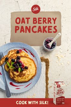These yummy pancakes made with Silk Plant Based Oat Yeah—topped with a gooey blueberry sauce—will make you crave mornings and cry sweet tears of syrup. Healthy Sweets, Healthy Breakfast Recipes, Brunch Recipes, Dessert Recipes, Breakfast Dishes, Breakfast Ideas, Oatmeal Recipes, Nutritious Meals, Baking Recipes