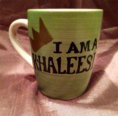 Customizable - 12 oz hand painted I am a Khaleesi Game of Thrones Coffee Mug Daenerys Targaryen Dragon Queen Moon of my life Sun and stars