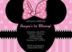 Minnie Mouse Invitation by partypassiondesign on Etsy, $8.50