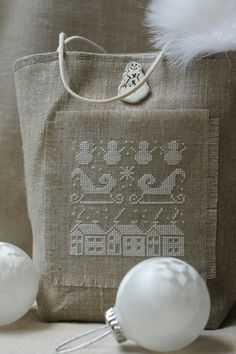 Kind of a nice way to give a gift. Make the bag, then put a small token inside. Xmas Cross Stitch, Cross Stitch Love, Cross Stitch Finishing, Cross Stitch Pictures, Cross Stitching, Embroidery Applique, Cross Stitch Embroidery, Cross Stitch Patterns, Cross Stitch Cushion