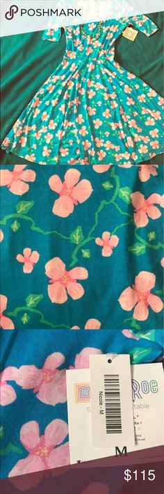Nicole Spring Dress Perfect floral girlie twirlie Nicole dress.  If you want to feel feminine this is the dress for you.  It's so fresh and flowery!  Get it before it's gone!!! This company only produces a certain amount of prints in each size so it's like a collector's item! LuLaRoe Dresses