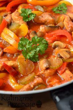 Pyszny schab po bałkańsku z pieczarkami, czerwoną i żółtą papryką Pork Recipes, Salad Recipes, Diet Recipes, Cooking Recipes, Recipies, Indian Dishes, Food Design, My Favorite Food, Appetizer Recipes