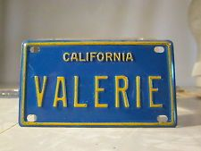 VTG New Old Stock 1969-1979 CA Bike License Plate w/Name VALERIE ((i have this!))