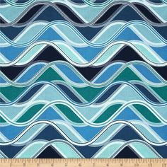 Designed by Studio RK for Robert Kaufman, this cotton print fabric is perfect for quilting, craft projects, apparel and home decor accents. Wavy stripes run perpendicular to the selvage. Colors include white, shades of blue, and shades of green.