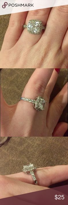 Sterling silver cz ring Beautiful ring. Missing one gem on the side hidden between the fingers Jewelry Rings